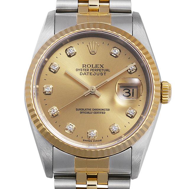 【48回払いまで無金利】ロレックス デイトジャスト 10Pダイヤ 16233G シャンパン K番 メンズ(008WROAU0298)【中古】【腕時計】【送料無料】
