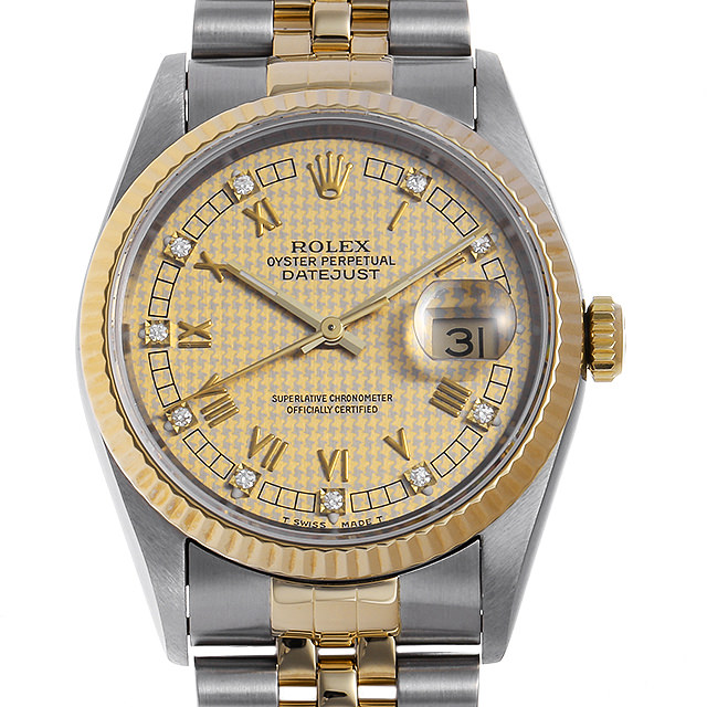 【48回払いまで無金利】ロレックス デイトジャスト 10Pダイヤ 16233G ハウンズトゥース 千鳥格子 W番 メンズ(0A89ROAU0132)【中古】【腕時計】【送料無料】