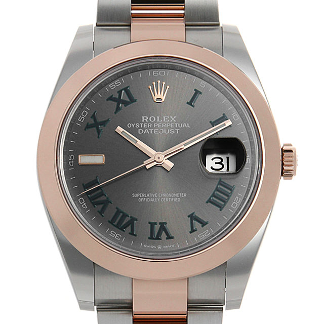 【48回払いまで無金利】ロレックス デイトジャスト41 126301 グレー/グリーンローマ メンズ(0FWNROAS0002)【未使用】【腕時計】【送料無料】