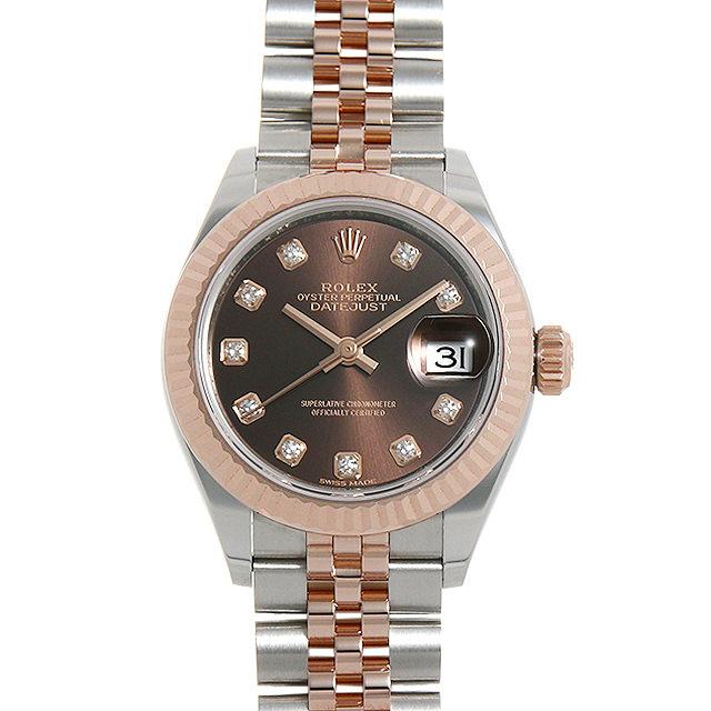 ロレックス デイトジャスト28 10Pダイヤ 279171G チョコレートブラウン レディース(0087ROAU0165)【中古】【腕時計】【送料無料】