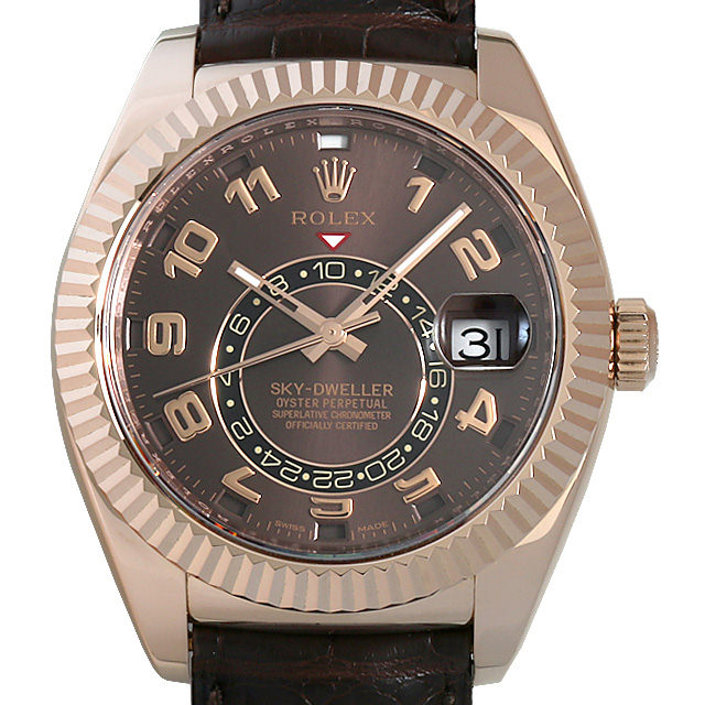 ロレックス スカイドゥエラー 326135 ブラウン メンズ(0BCCROAU0091)【中古】【腕時計】【送料無料】