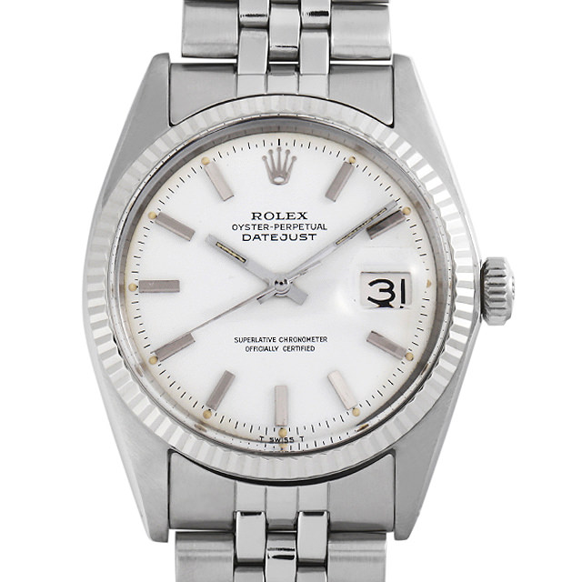 【48回払いまで無金利】ロレックス デイトジャスト 1601 ホワイト/バー 18番 メンズ(007UROAA0148)【アンティーク】【腕時計】【送料無料】【キャッシュレス5%還元】