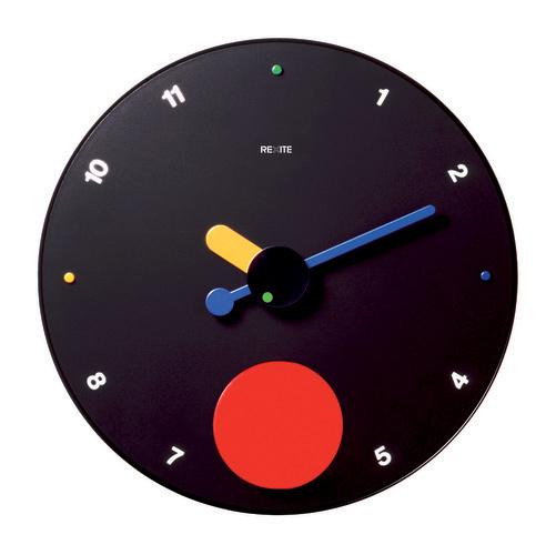 直径45cm 大判CLOCK 送料無料 使い勝手の良い REXITE レキサイト 振り子時計ギフトに大人気 イタリア製デザイナーズ壁掛け時計45cmのBIGフェイス☆数字表記あり タイムセール コントラテンポ ブラック CONTRATTEMPO