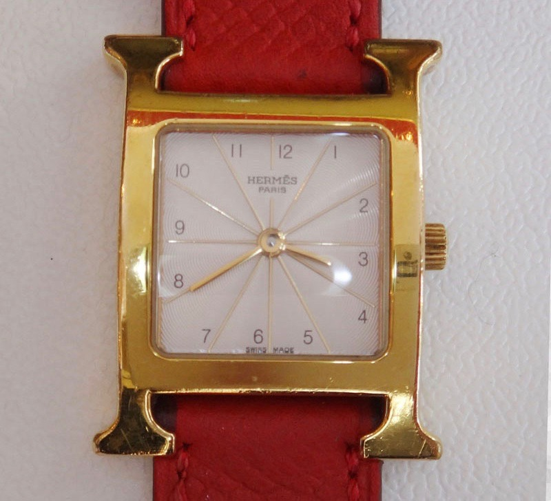 令和記念 HERMES エルメス Hウォッチ 腕時計 HH1.201 クォーツ □N刻印 レディース とけい シルバー文字盤【中古】h-004