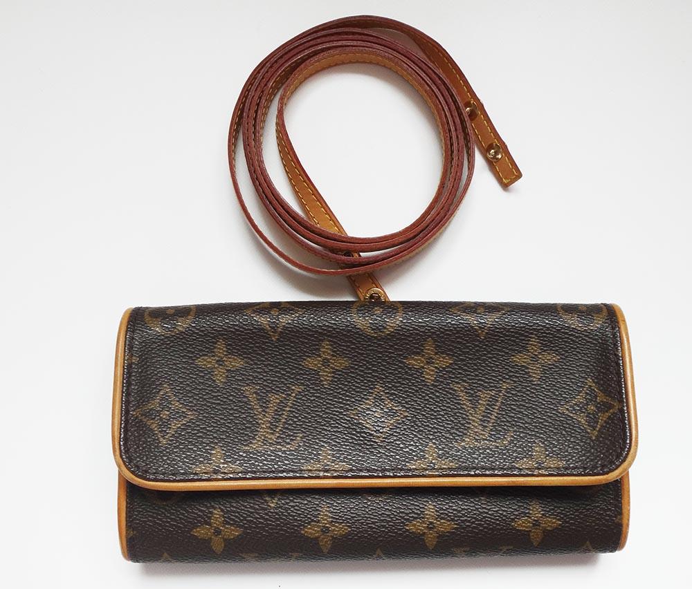 美品 Louis Vuitton ルイヴィトン 本物 モノグラム ポシェットツインPM ショルダーバッグ ポーチ M51854 ストラップ付 ブランド プレゼント【中古】