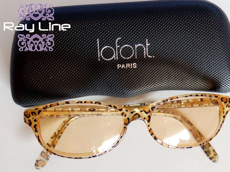 e23da8f457 RayLine  LaFont lafont Leopard pattern Sunglasses brown with case ...