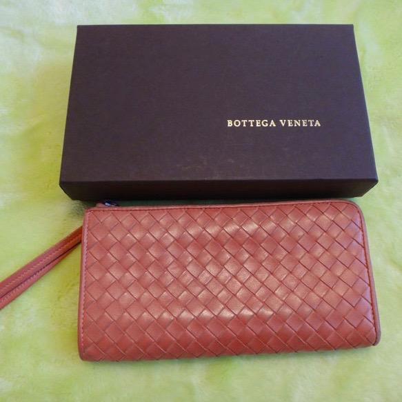50%OFF Bottega Veneta ボッテガ・ヴェネタ 本物 L型ジップ 長財布 レザー オレンジ 新タグ 244823【中古】t-002