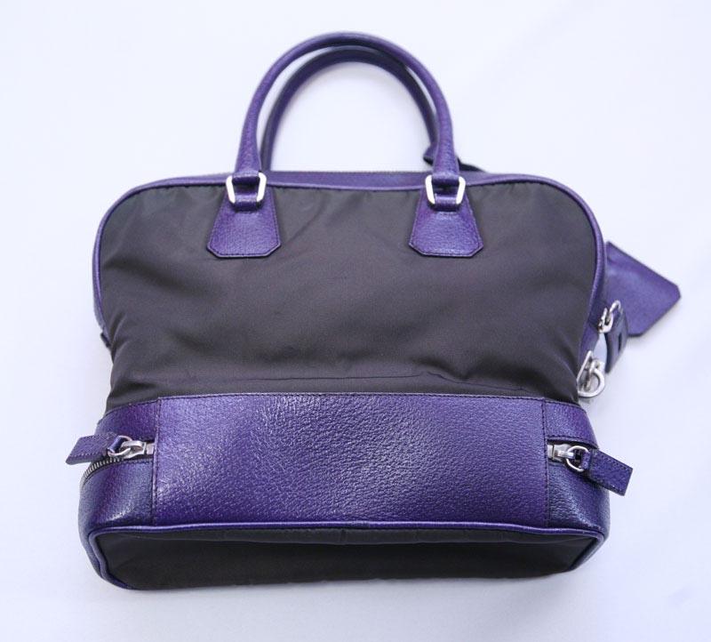 Prada Handbags Black Purple Leather Nylon