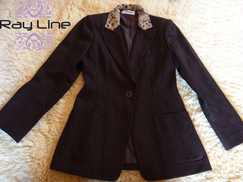 LEONARD レオナール パンツスーツ ダークブラウン ストライプ サイズ38美品 古着 【中古】t-003