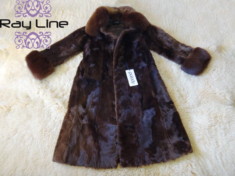 コート 防寒 暖かいPALODY チェキアンラムコート 毛皮 ロングコートブラウン系 古着 【中古】t-003