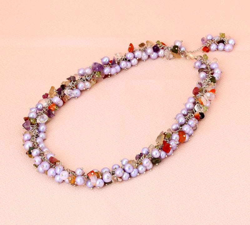レディース 淡水パール×カラー水晶 42cm新品 パールネックレス ネックレス ネックレス シルバー金具