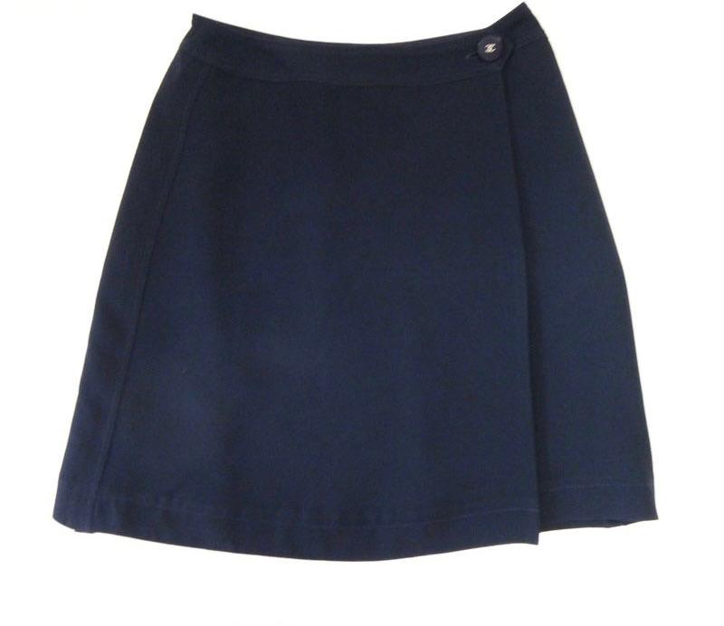 CHANEL シャネル 巻きスカート サイズ38 ネイビー ひざ丈 古着 美品【中古】c-003