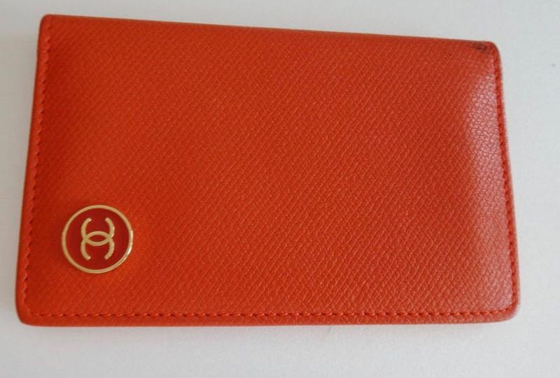 CHANEL シャネル カードケース 名刺ケース ココマーク オレンジ レザー【中古】c-002 9246028