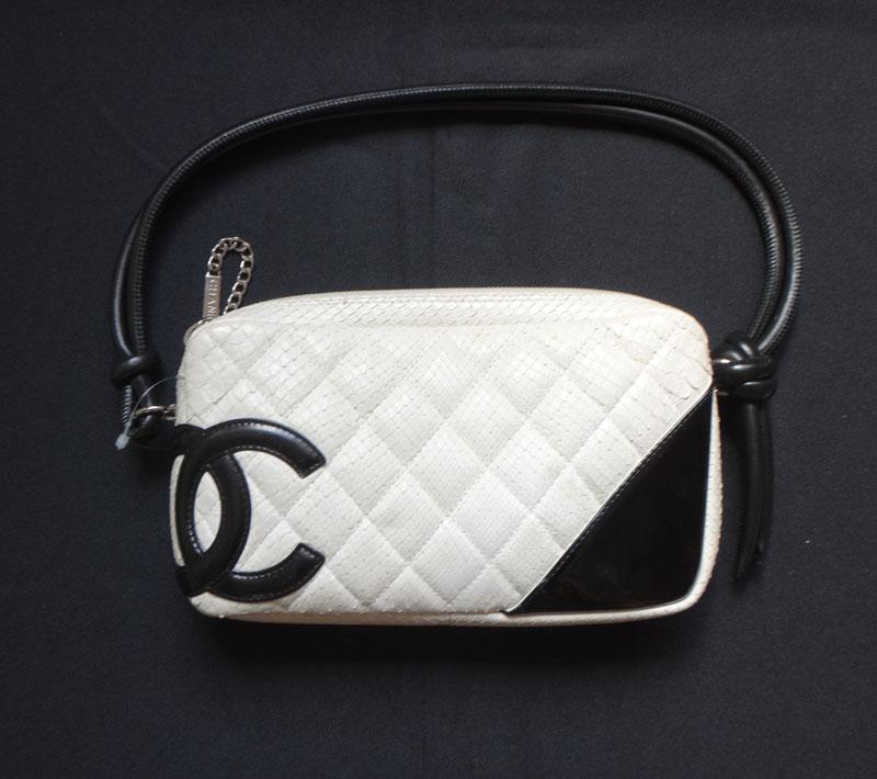 CHANEL Chanel Cambon line shoulder bag Python white Mint women's bag handbag bag satchel bag