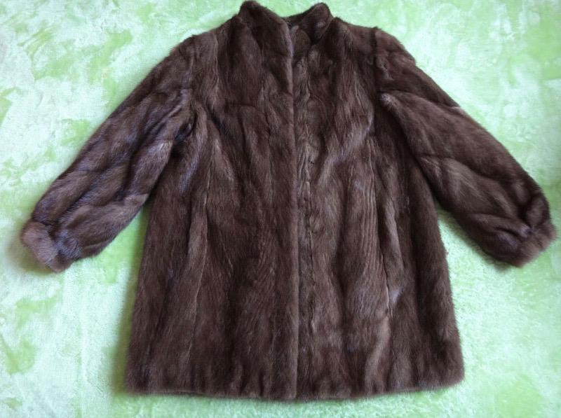 毛皮コート レディース ミンクコート 毛皮 ハーフコート ブラウン サイズ13 古着 防寒 暖かい 【中古】t-003
