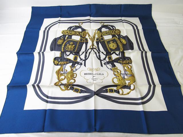 令和記念 箱付き 新品未使用品 HERMES エルメス スカーフ カレ 90×90 ブルー系 シルク 【中古】