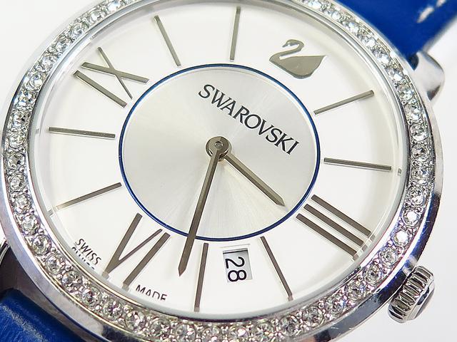 令和記念 SWAROVSKI スワロフスキー レディース 腕時計 クォーツ レザー【中古】■■