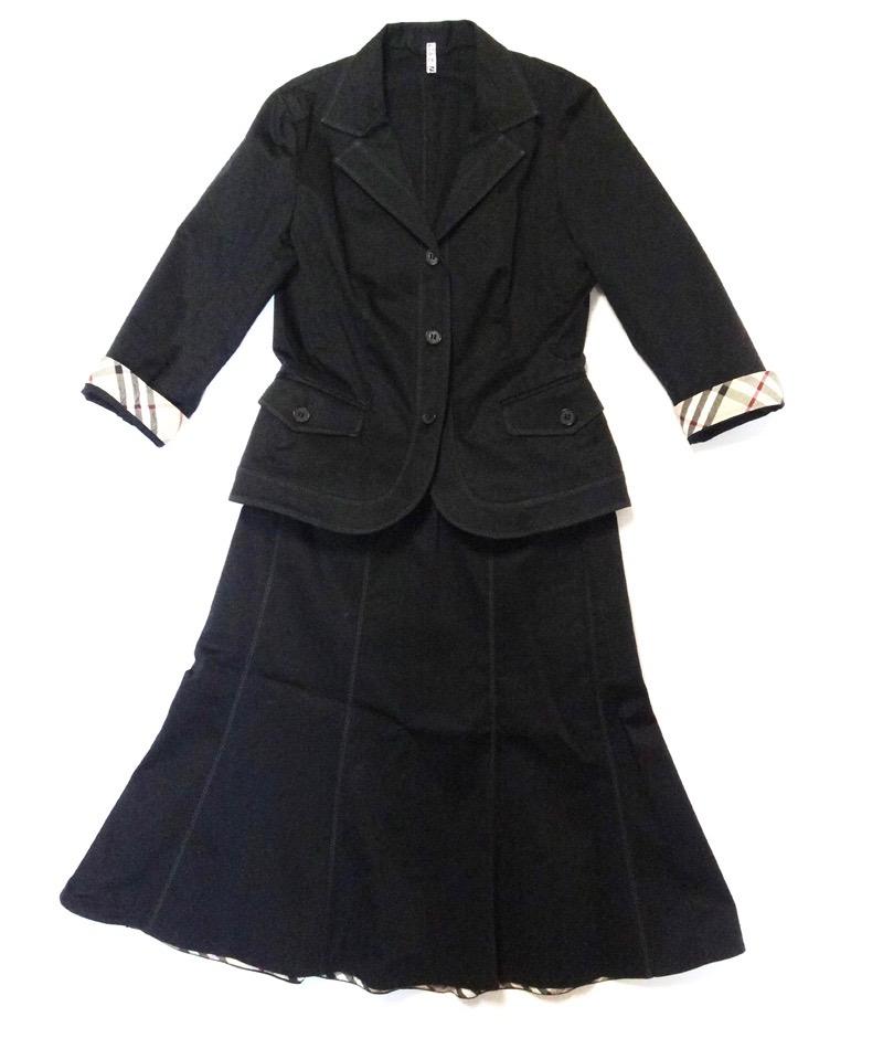 バーバリー スカートスーツ Burberry LONDON バーバリー ロンドン レディーススーツ ジャケット サイズ36/38 黒 古着【中古】t-003