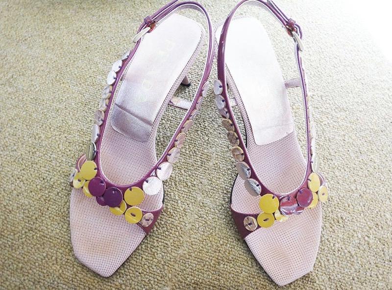PRADA プラダ レディース サンダル パンプス サイズ35 1/2 ピンク系 シューズ 靴 本物 ブランド プレゼント【中古】t-005 シミ インソール接着剥がれ