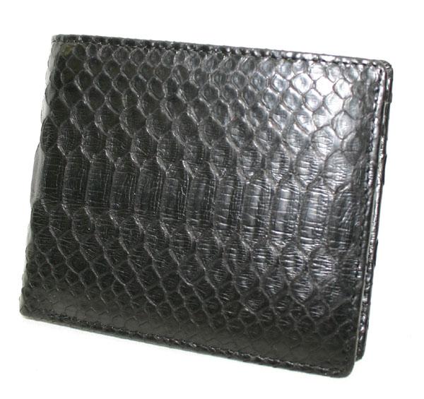パイソン 2つ折り 財布 ブラック/ナチュラル 新品未使用品 t-003△△s913 bm