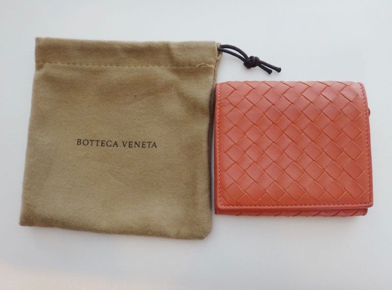 Bottega Veneta ボッテガ ヴェネタ イントレチャート 三つ折り 財布 ピンク レザー 【中古】t-002