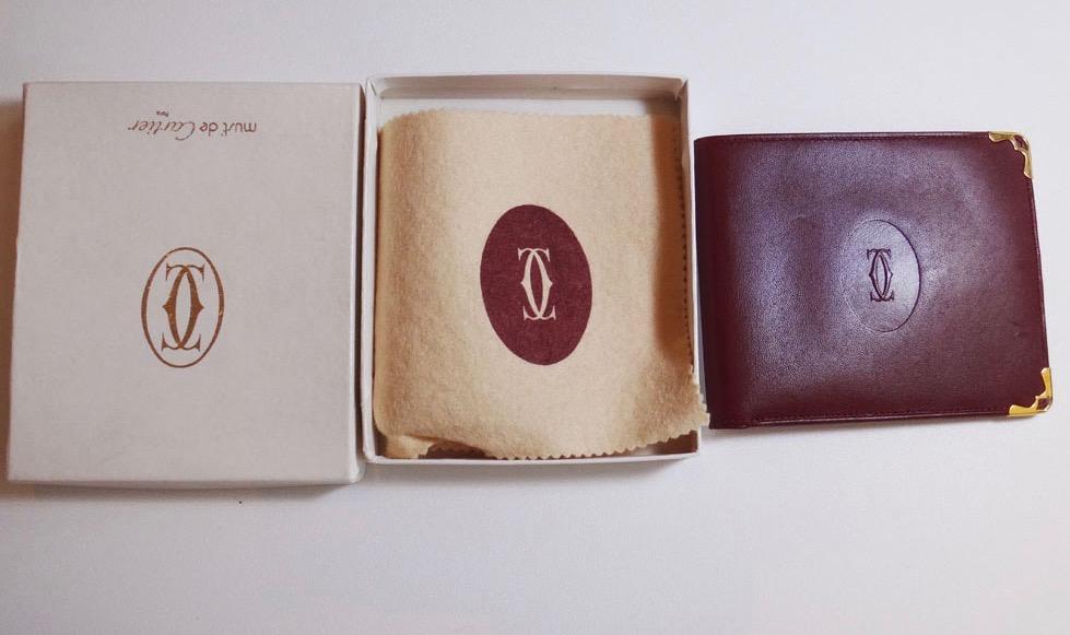 美品 Cartier カルティエ マストライン 二つ折り財布 札入れ レザー ボルドー 本物 ブランド プレゼント【中古】
