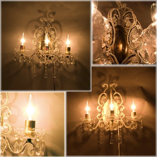 LED対応 Chandelier 3 Wall Jewel ヨーロッパ風 ブラケット シャンデリア 3ウォールジュエル 新品未使用品 t-003△△