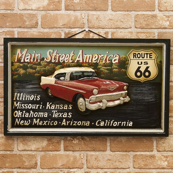 車のデザインがカッコ良い アンティークボード Main Street Americaメインストリートアメリカ 新品未使用品 t-003△△
