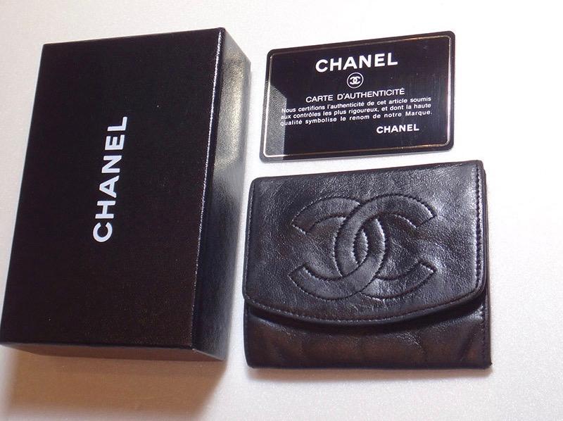 CHANEL シャネル コインケース レザー 黒【中古】c-002 全体スレ、角スレ シールなし