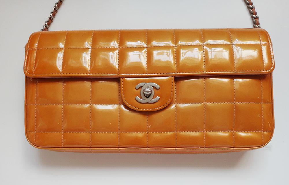 CHANEL シャネル バッグ オレンジ レディース ショルダー エナメルカバン 鞄 かばん【中古】