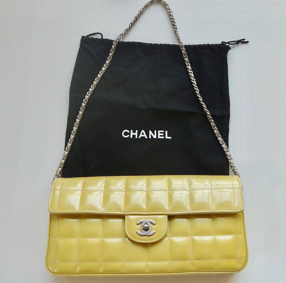 cd6c9986996a CHANELシャネルニュートラベルラインチョコバーチェーンショルダーバッグクラッチバッグ本物黄色鞄かばん