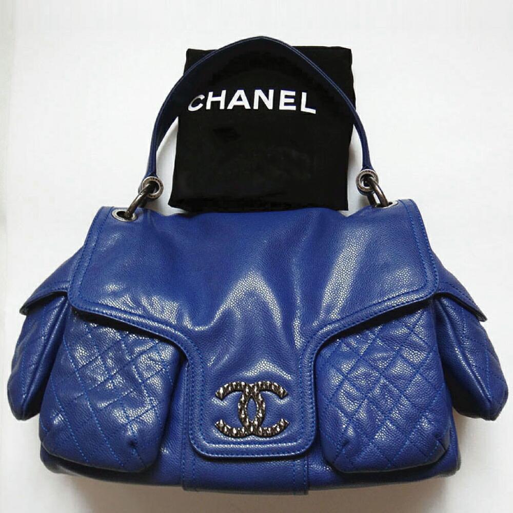 CHANEL シャネル バッグ ショルダー マルチポケット 鞄 かばん カバン キャビア ブルー 美品 本物 ブランド プレゼント 中古