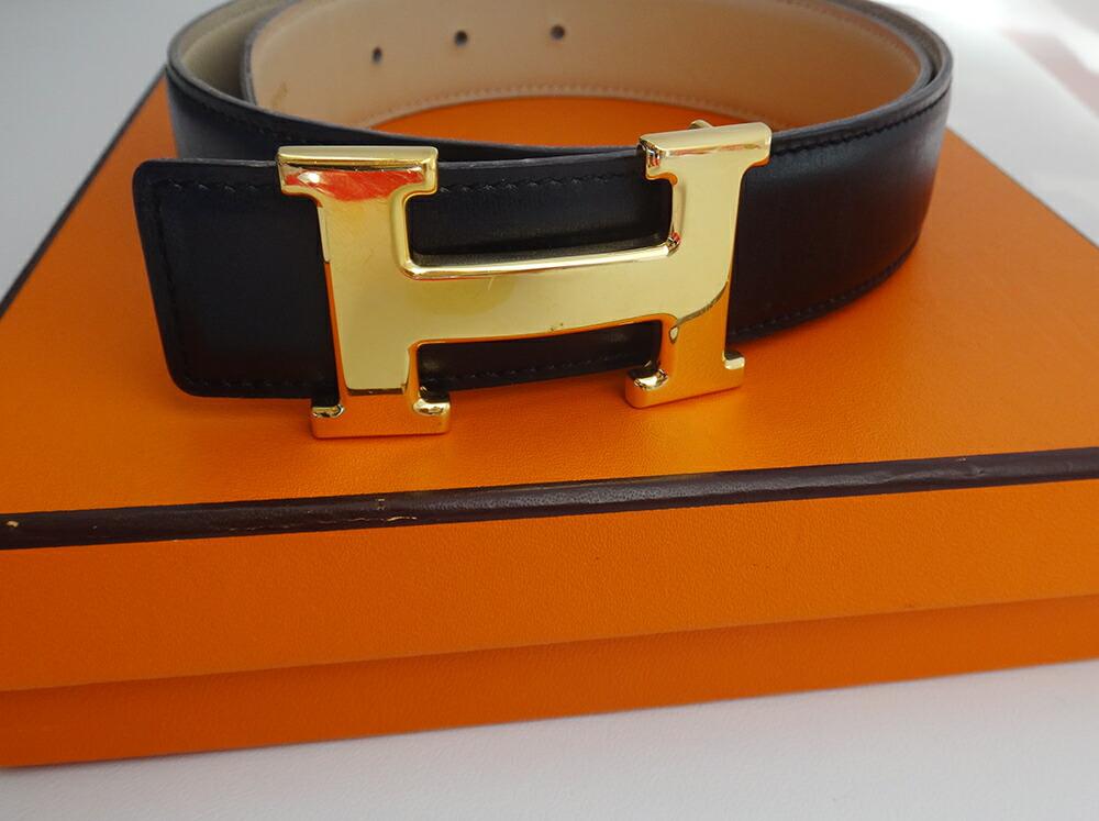 20%OFF HERMES エルメス Hベルト メンズ #70 ブラック レザー ゴールド金具 □A 本物 ブランド プレゼント ブランド プレゼント【中古】