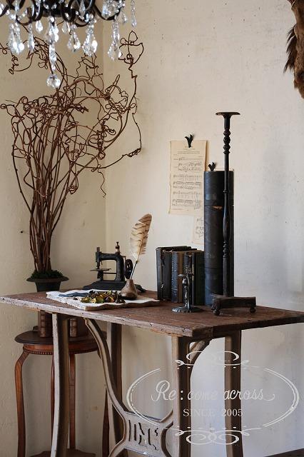 おしゃれ 古いテーブル アイアンフレーム フランスBrocante サービス ファクトリーテーブル 工業系 インンダストリアル 作業台 Q100 ギフト