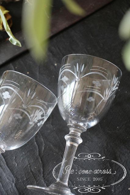 おしゃれ グラス 送料無料でお届けします グラビール加工 フランスBrocante 2脚セット OUTLET SALE O441-3 グラビール加工のグラス