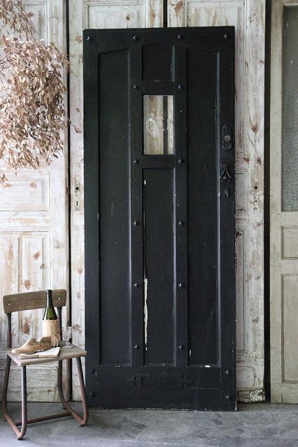 おしゃれ 古いドア 古い建具 吹きガラス 上等 イギリスの古い 建具 ブラック×ホワイト 吹きガラスの入ったペイントドア 国産品 U1