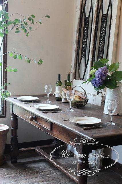 N369 英国アンティーク ドロワー付きダイニングテーブル・食卓テーブル