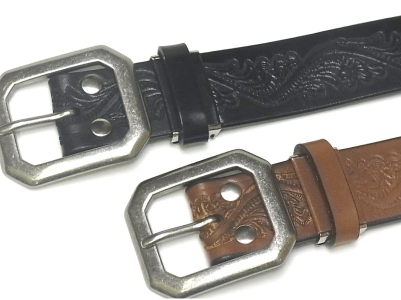 牛革ベルト ■40mm 日本製 5mm厚ベンズレザー型押しベルト  【フリーサイズ】【男女兼用/メンズ、レディース】【本革ベルト】
