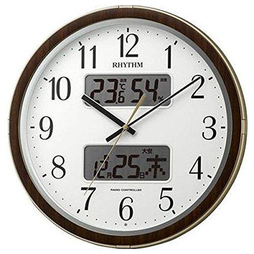 【送料無料】RHYTHM(リズム時計) カレンダー&温湿度計搭載の電波時計大人気シリーズ フィットウェーブリブDX 木目仕上げ 4FYA09SR18 ■送料無料※北海道・九州・沖縄・離島は別途送料(1080円~2160円)