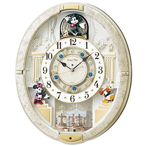 【送料無料】SEIKO CLOCK (セイコークロック) 掛け時計ミッキーマウス電波アナログからくり 12曲メロディ回転飾りミッキー&フレンズ Disney Time(ディズニータイム) 白マーブル模様 FW580W■送料無料※北海道・九州・沖縄・離島は別途送料(1080円~2160円)