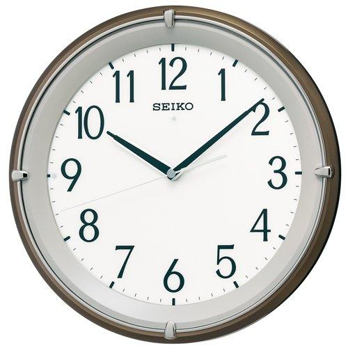 【送料無料】SEIKO CLOCK (セイコークロック) 掛け時計 自動点灯 電波 アナログ 夜でも見える 木枠 茶メタリック KX203B ■送料無料※北海道・九州・沖縄・離島は別途送料(1080円~2160円)