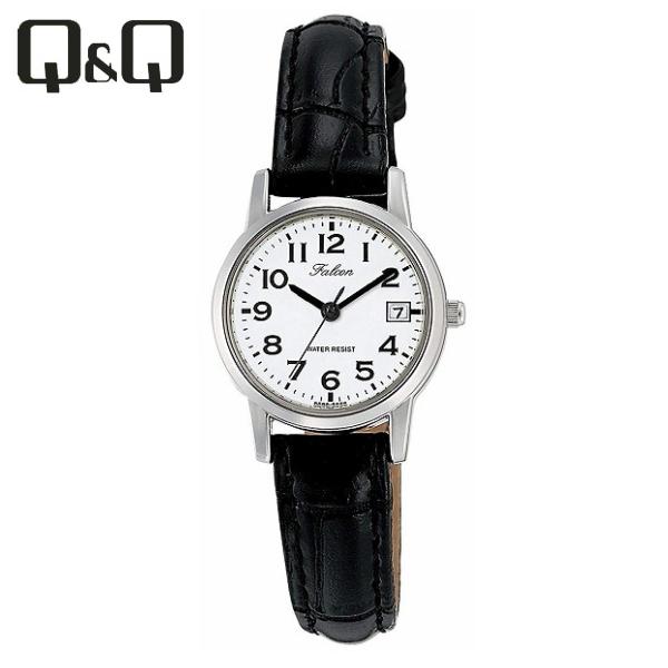 【全国/代引き不可】[シチズン キューアンドキュー]CITIZEN Q&Q 腕時計 Falcon ファルコン アナログ 革ベルト 日付 表示 ホワイト D019-304 レディース ★チープシチズン チープカシオ 最安値