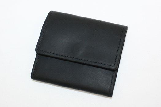 SETTLER OW890 COIN PURSE ニつ折り レザーウォレット 2つのマチつきポケットを合わせて装備 7.5cm x 8.0cm ブラック