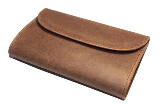 SETTLER OW1112 3 FOLD PURSE 三つ折り レザーウォレット コインポケットに5つのカードポケット付き 10cm x 14cm ブラウン