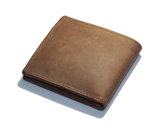 SETTLER OW1563 COIN WALLET 二つ折り レザーウォレット コインポケットに4つのカードポケット付き 11cm x 10cm ブラウン