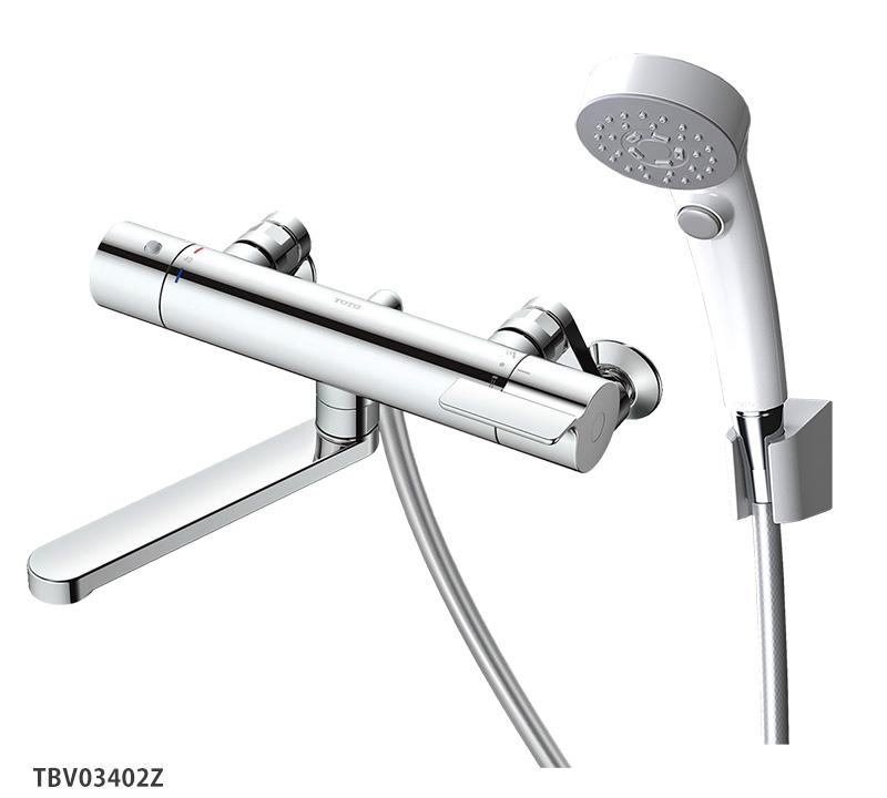 壁付サーモスタット混合水栓<スパウト170mm>レバーハンドル TOTO GGシリーズ 浴室蛇口 寒冷地仕様 TBV03402Z