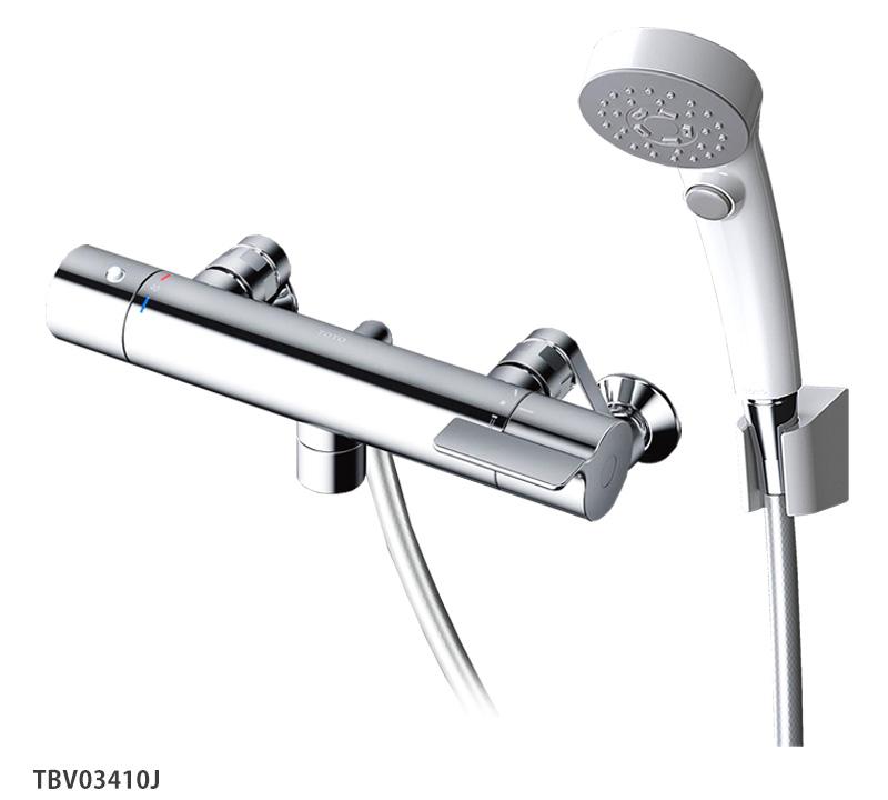 壁付サーモスタット混合水栓<洗い場専用スパウト0mm>レバーハンドル TOTO 浴室蛇口 TBV03410J GGシリーズ
