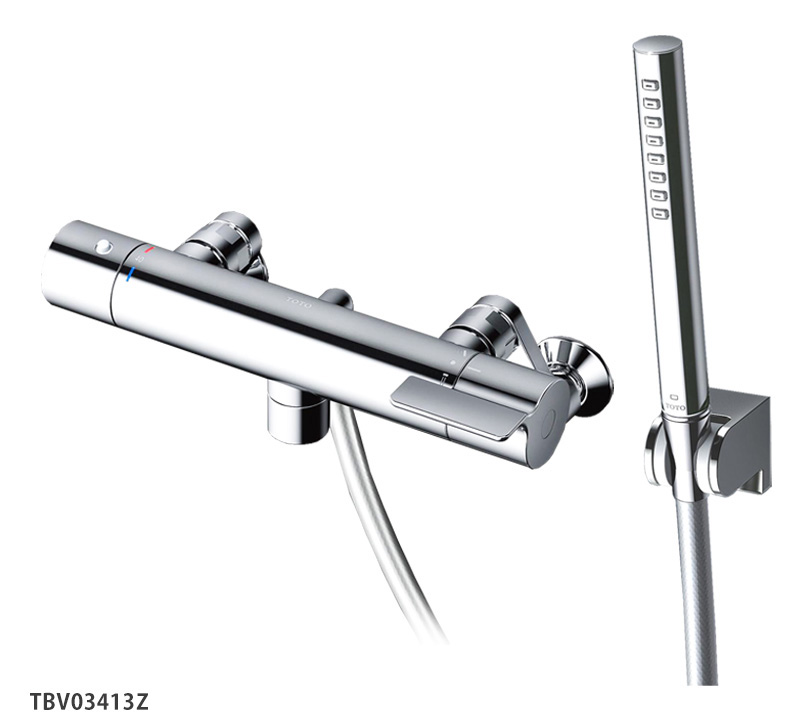 TOTO 浴室蛇口 TBV03413Z GGシリーズ 壁付サーモスタット混合水栓<洗い場専用スパウト0mm>レバーハンドル 寒冷地仕様