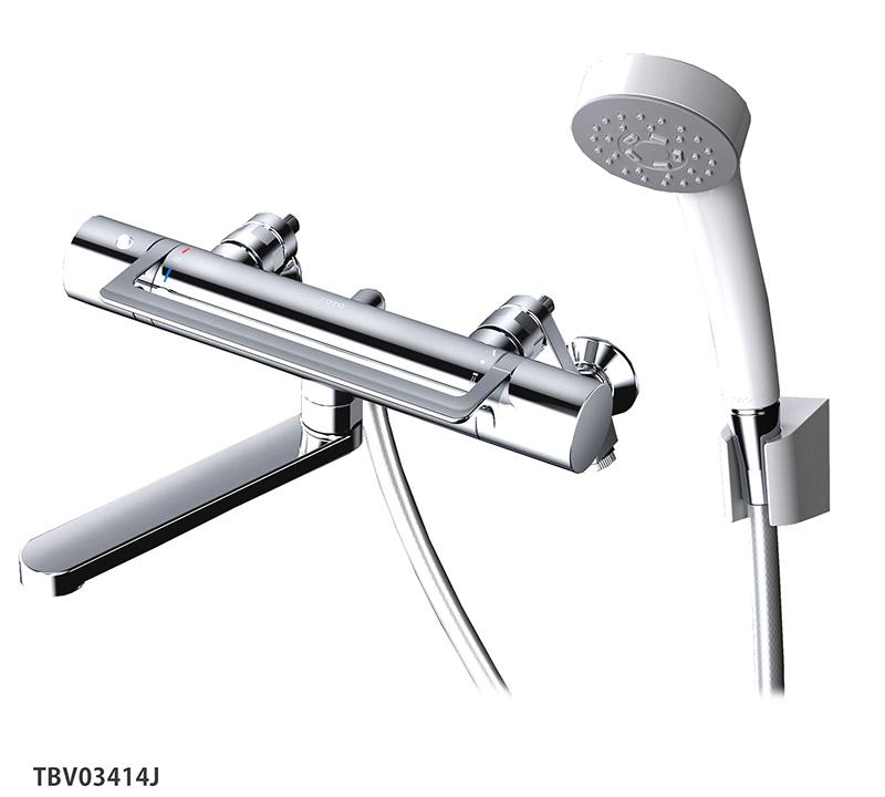 浴室蛇口 TBV03414J GGシリーズ TOTO 壁付サーモスタット混合水栓<スパウト170mm>アーチハンドル