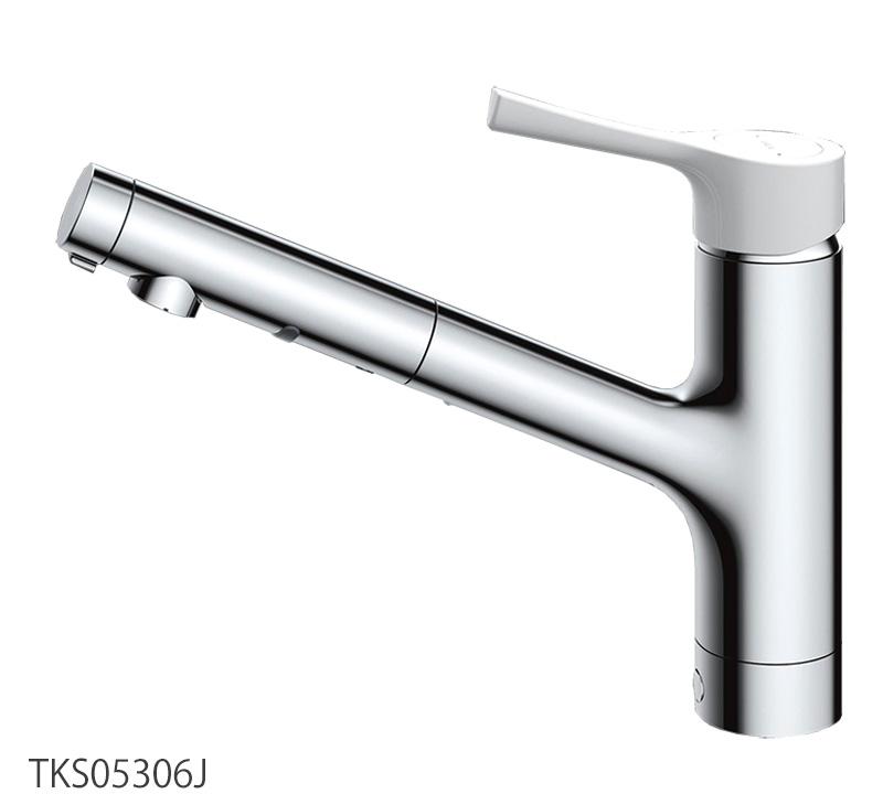 台付シングル混合水栓(ハンドシャワー・吐水切替タイプ) キッチン蛇口 TKS05306J GGシリーズ TOTO